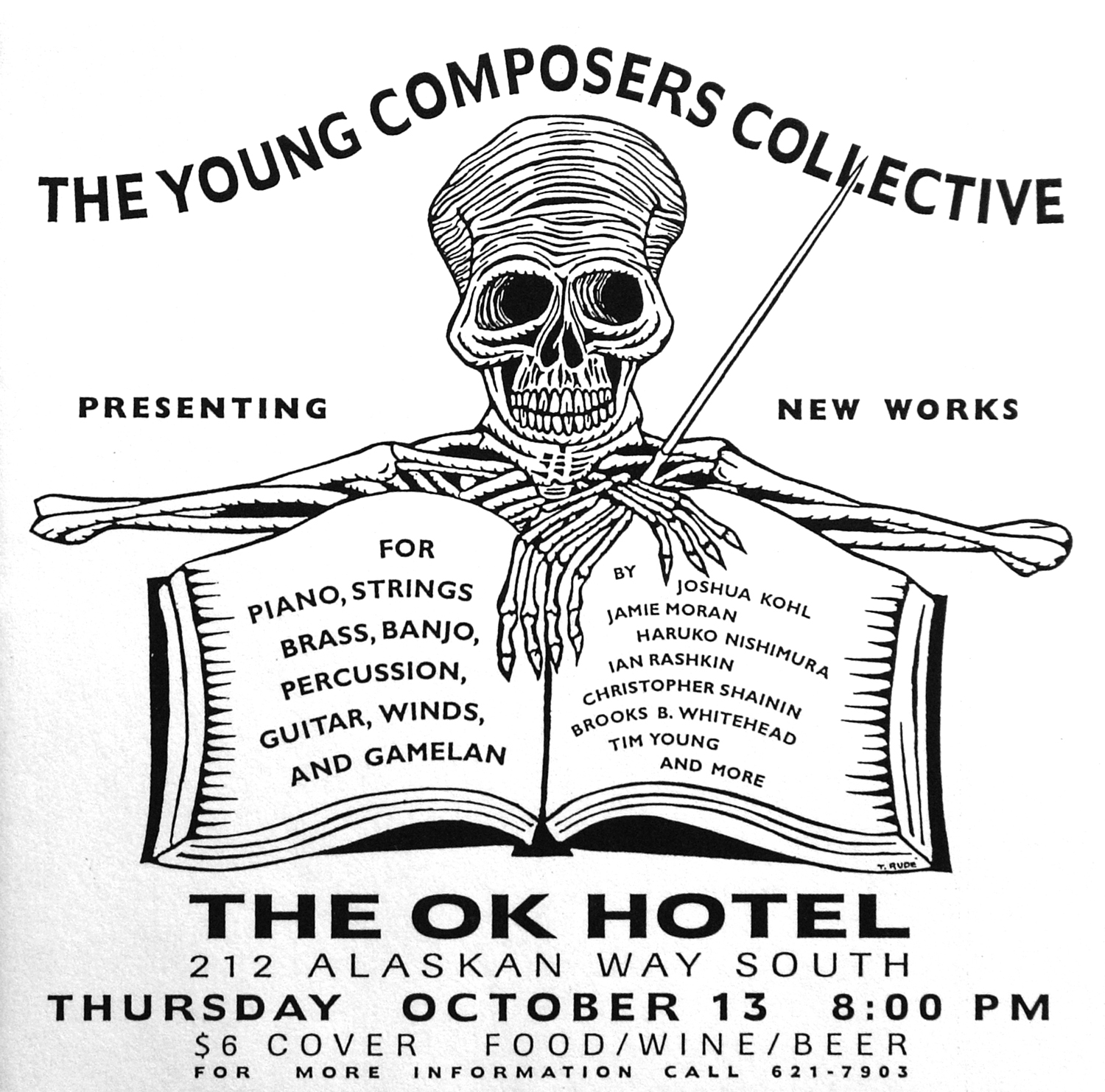 The Young Composers Collective poster. Woodcut by Thomas Rude. circa 1990s