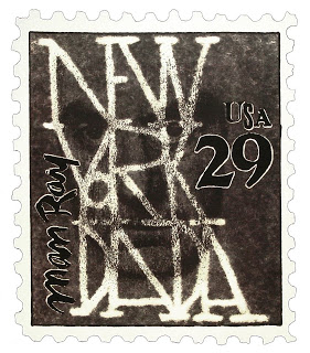 Man Ray commemorative postage stamp. Photo collage and hand lettering. 1990.