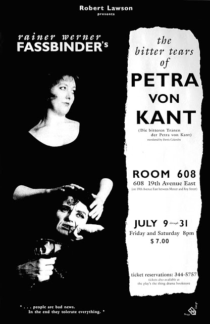 The Bitter Tears of Petra von Kant poster for Robert Lawson. Photography and Design. Early 1990s